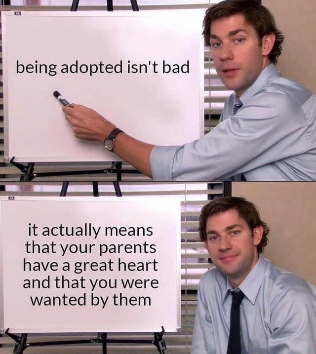 wholesome memes for feeling nice - Clothing - being adopted isn't bad it actually means that your parents have a great heart and that you were wanted by them