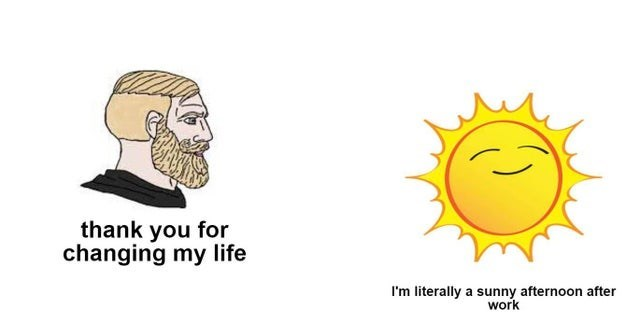 wholesome memes for feeling nice - Facial expression - thank you for changing my life I'm literally a sunny afternoon after work