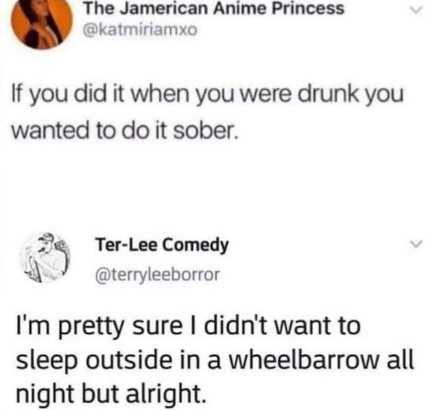 Organism - The Jamerican Anime Princess @katmiriamxo If you did it when you were drunk you wanted to do it sober. Ter-Lee Comedy @terryleeborror I'm pretty sure I didn't want to sleep outside in a wheelbarrow all night but alright.