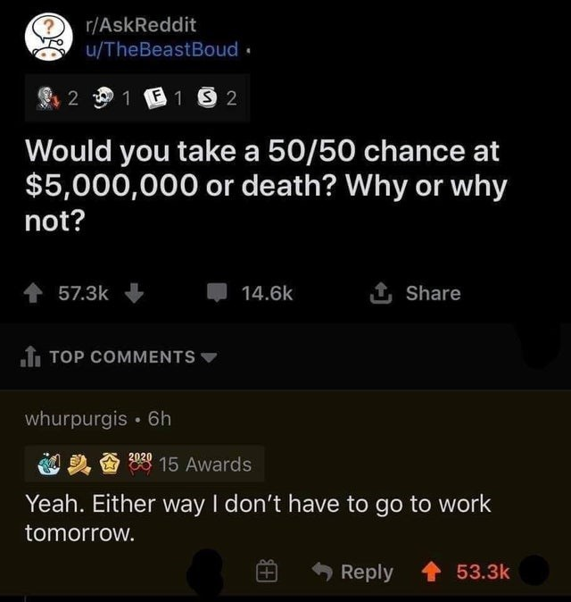 Font - r/AskReddit u/TheBeastBoud. 2 1 E 13 2 Would you take a 50/50 chance at $5,000,000 or death? Why or why not? 57.3k 14.6k 1 Share 1 TOP COMMENTS whurpurgis • 6h 2020 1头香 15 Awards Yeah. Either way I don't have to go to work tomorrow. Reply 53.3k