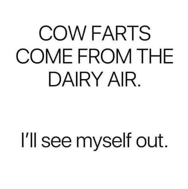 Font - COW FARTS COME FROM THE DAIRY AIR. I'll see myself out.