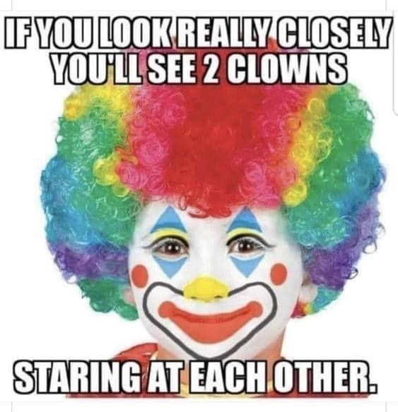 Hair - IFYOU LOOK REALLY CLOSELY YOU'LL SEE 2 CLOWNS STARING AT EACHOTHER.