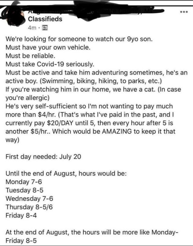 ridiculous entitled people and their demands - Gesture - A Classifieds ... 4m · A We're looking for someone to watch our 9yo son. Must have your own vehicle. Must be reliable. Must take Covid-19 seriously. Must be active and take him adventuring sometimes, he's an active boy. (Swimming, biking, hiking, to parks, etc.) If you're watching him in our home, we have a cat. (In case you're allergic) He's very self-sufficient so l'm not wanting to pay much more than $4/hr. (That's what I've paid in the