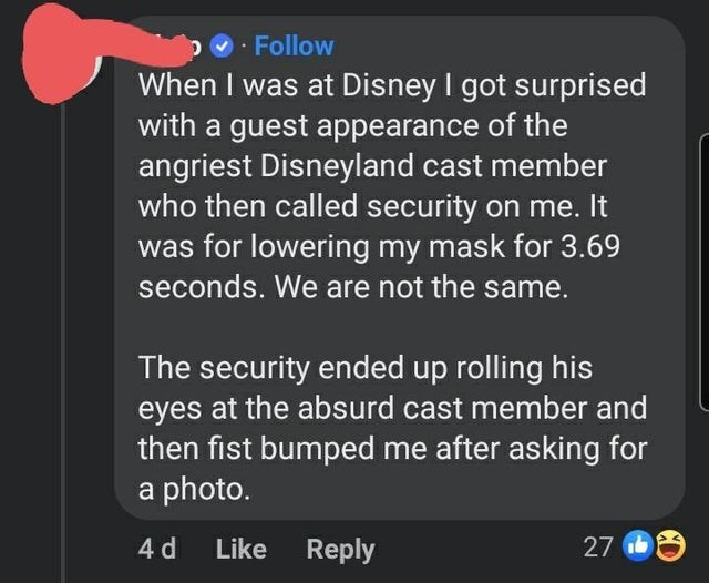 Gesture - · Follow When I was at Disney I got surprised with a guest appearance of the angriest Disneyland cast member who then called security on me. It was for lowering my mask for 3.69 seconds. We are not the same. The security ended up rolling his eyes at the absurd cast member and then fist bumped me after asking for a photo. 4 d Like Reply 27 6