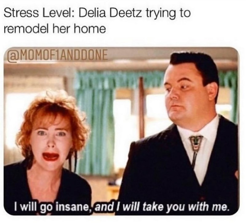 Human - Stress Level: Delia Deetz trying to remodel her home @MOMOF1ANDDONE I will go insane, and I will take you with me.