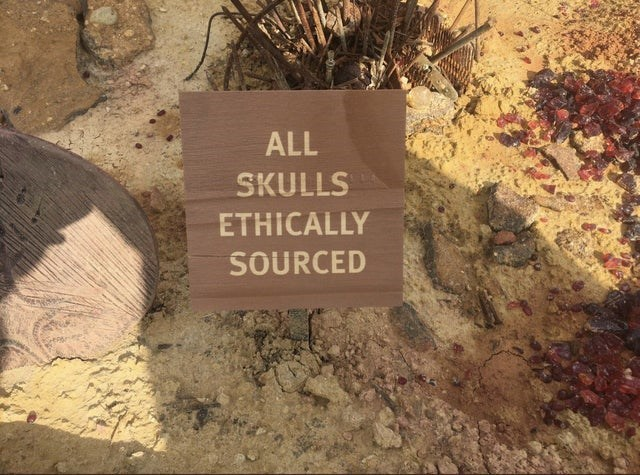 scary warning signs - Brown - ALL SKULLS ETHICALLY SOURCED