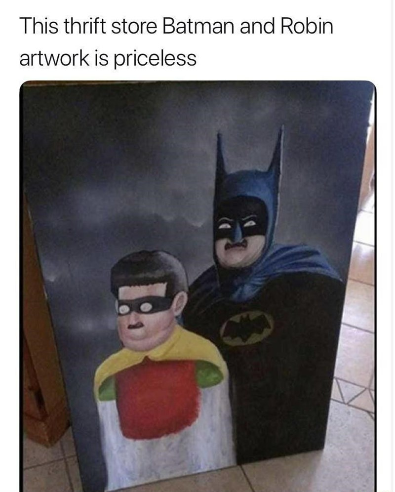 Cartoon - This thrift store Batman and Robin artwork is priceless