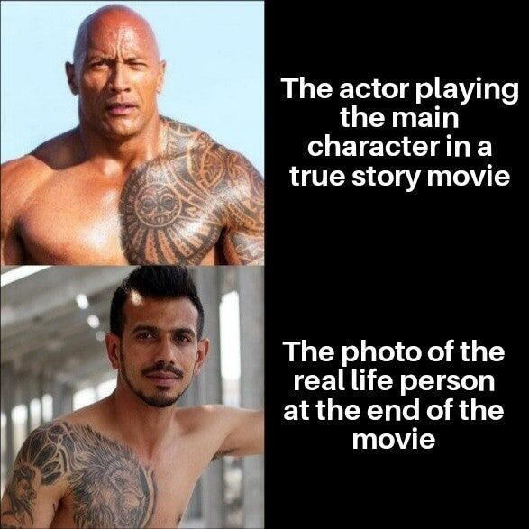 Chin - The actor playing the main character in a true story movie The photo of the real life person at the end of the movie