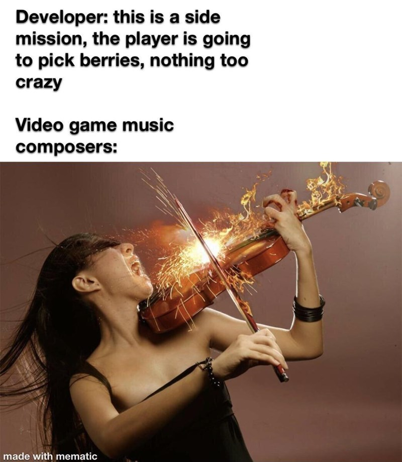 Musical instrument - Developer: this is a side mission, the player is going to pick berries, nothing too crazy Video game music composers: made with mematic