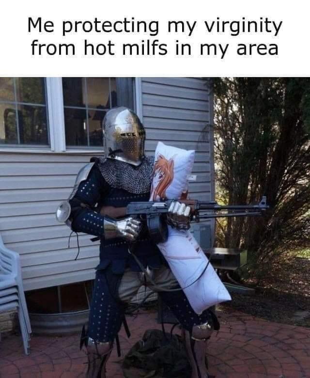 Helmet - Me protecting my virginity from hot milfs in my area