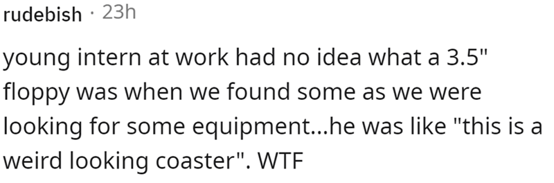 """Font - rudebish · 23h young intern at work had no idea what a 3.5"""" floppy was when we found some as we were looking for some equipment...he was like """"this is a weird looking coaster"""". WTE"""