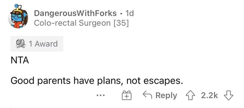 Font - DangerousWithForks • 1d Colo-rectal Surgeon [35] 1 Award NTA Good parents have plans, not escapes. G Reply 1 2.2k ...