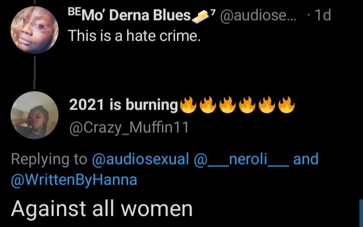 Light - BEMO' Derna Blues 7 @audiose. · 1d This is a hate crime. 2021 is burning @Crazy_Muffin11 Replying to @audiosexual @__neroli_ and @WrittenByHanna Against all women