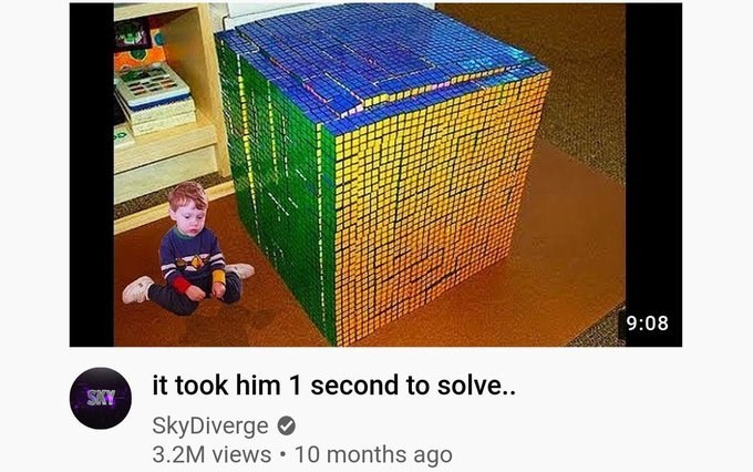 Product - 9:08 it took him 1 second to solve.. SOCY SkyDiverge O 3.2M views • 10 months ago