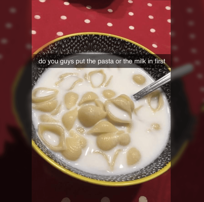 Food - do you guys put the pasta or the milk in first