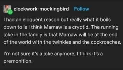 funny tumblr story about old matriarch of family - Font - clockwork-mockingbird Follow I had an eloquent reason but really what it boils down to is I think Mamaw is a cryptid. The running joke in the family is that Mamaw will be at the end of the world with the twinkies and the cockroaches. I'm not sure it's a joke anymore, I think it's a premonition.
