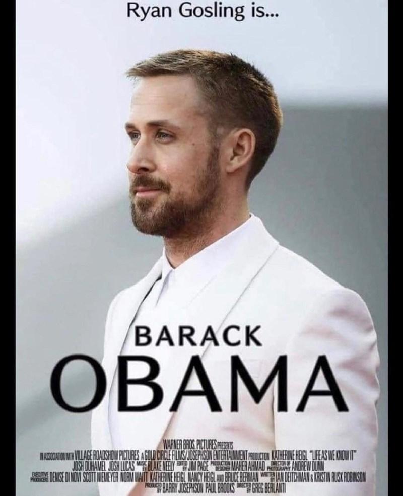 "Forehead - Ryan Gosling is. BARACK ОВАМА WARIER BROS PITURES PERS MASICNIA MIR VILAGE FOAISHON PICTURES AGOLD CRCEFLNS/JOSEPHISIN ENTERTANMENT CTON KATHERINE HEIGL ""LFEAS WE KNOWIT JOSH OUHAMEL JOSH LUCAS LALE NEEY IMPAGE MAHER AHMAD WITTEN ANDREW DUN ERGNE DENISE INOV SOUIT NEMEYER NOAM WAIT KATHERINE HEIGL NANCY HEGL AN BRUCE BERMAN ANDEICHMAN CRSIN RUSK ROBINSON PBARY JOSERISON PAUL BROOKS GREG BERLANT PRODUCERS PRODUCED"