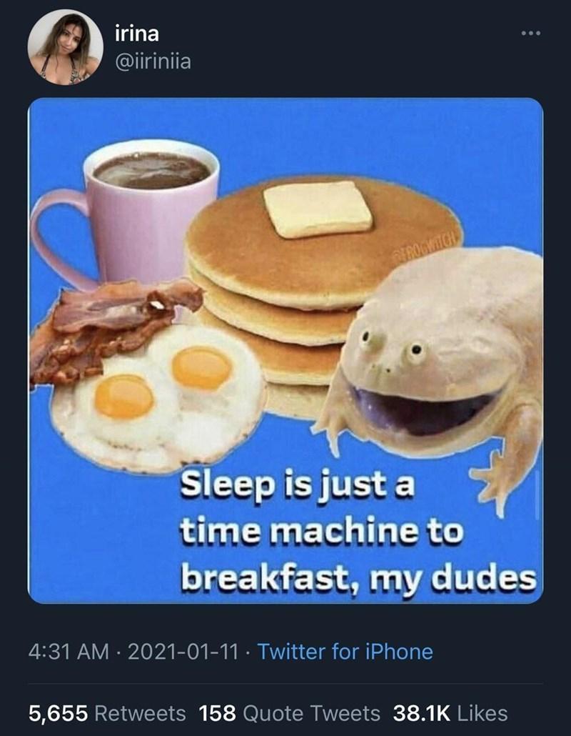 Food - irina @iiriniia CEPOGMIG Sleep is just a time machine to breakfast, my dudes 4:31 AM · 2021-01-11 · Twitter for iPhone 5,655 Retweets 158 Quote Tweets 38.1K Likes