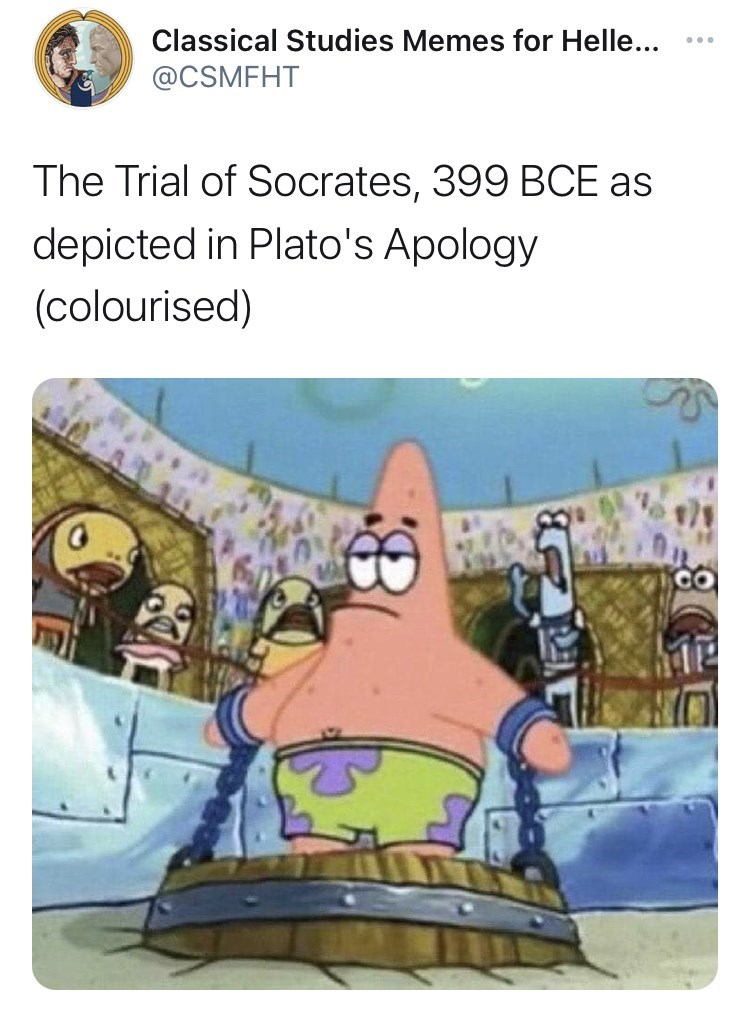 Cartoon - Classical Studies Memes for Helle... ... @CSMFHT The Trial of Socrates, 399 BCE as depicted in Plato's Apology (colourised)