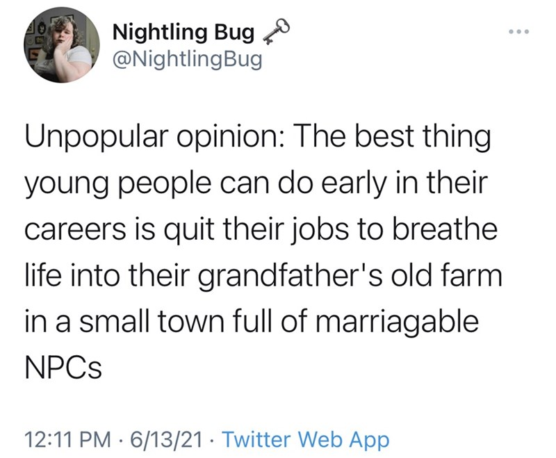 Organism - Nightling Bug @NightlingBug ... Unpopular opinion: The best thing young people can do early in their careers is quit their jobs to breathe life into their grandfather's old farm in a small town full of marriagable NPCS 12:11 PM · 6/13/21 · Twitter Web App