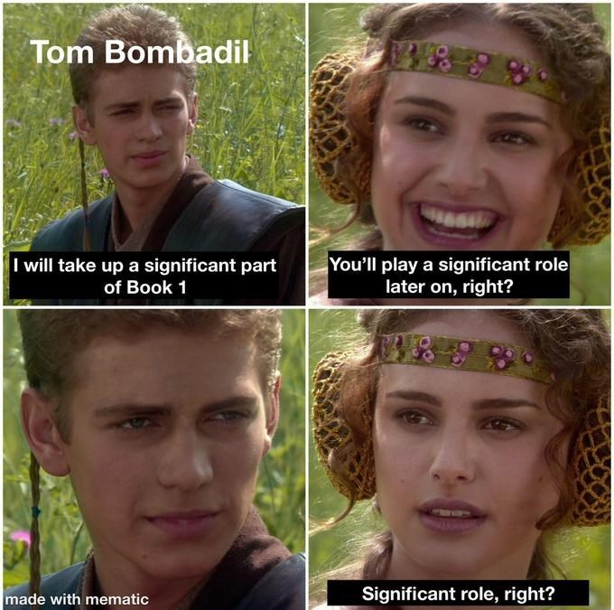 Hair - Tom Bombadil You'll play a significant role later on, right? I will take up a significant part of Book 1 made with mematic Significant role, right?