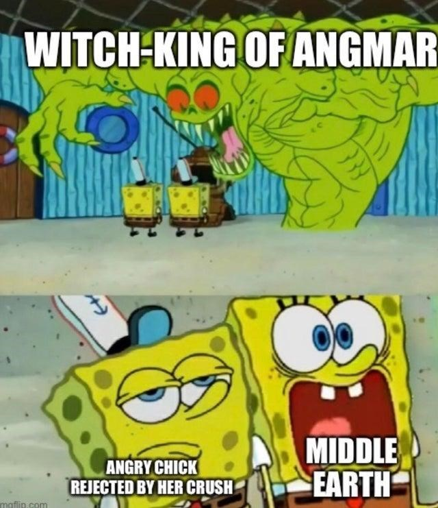 Cartoon - WITCH-KING OF ANGMAR ANGRY CHICK REJECTED BY HER CRUSH MIDDLE EARTH maflip.com