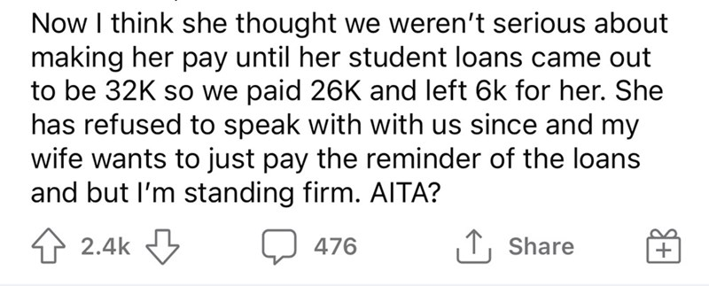 Font - Now I think she thought we weren't serious about making her pay until her student loans came out to be 32K so we paid 26K and left 6k for her. She has refused to speak with with us since and my wife wants to just pay the reminder of the loans and but l'm standing firm. AITA? 4 2.4k 476 |↑, Share