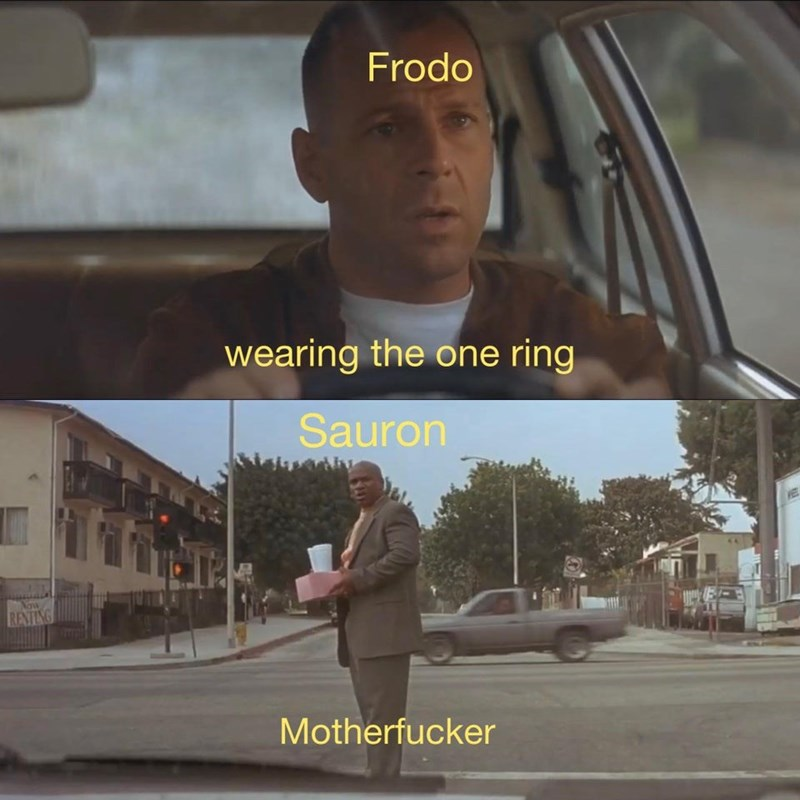 Photograph - Frodo wearing the one ring Sauron Now RATING Motherfucker