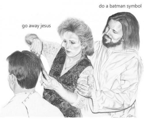 Hairstyle - do a batman symbol go away jesus