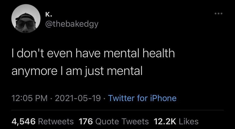 Font - К. @thebakedgy I don't even have mental health anymore l am just mental 12:05 PM · 2021-05-19 · Twitter for iPhone 4,546 Retweets 176 Quote Tweets 12.2K Likes