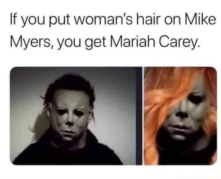 Forehead - If you put woman's hair on Mike Myers, you get Mariah Carey.