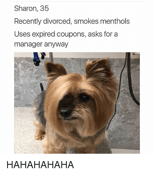 Dog - Sharon, 35 Recently divorced, smokes menthols Uses expired coupons, asks for a manager anyway НАНАНАНАНА