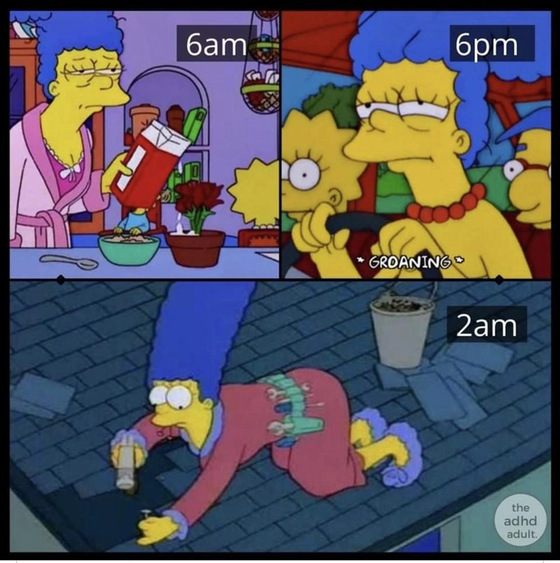 Cartoon - бат 6pm GROANING 2am the adhd adult.