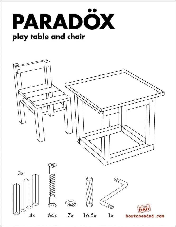 Furniture - PARADOX play table and chair 3x Ow to A DAD 4x 64x 7x 16.5x 1x howtobeadad.com