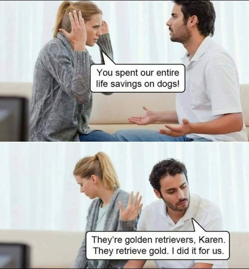 Hair - You spent our entire life savings on dogs! They're golden retrievers, Karen. They retrieve gold. I did it for us.
