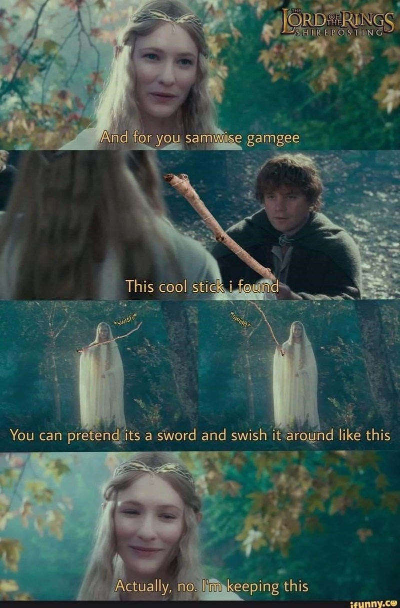 Face - THE ORDRINGS SHIREPOSTING And for you samwise gamgee This cool stick i found *swish* *swish* You can pretend its a sword and swish it around like this Actually, no. I'm keeping this ifunny.co
