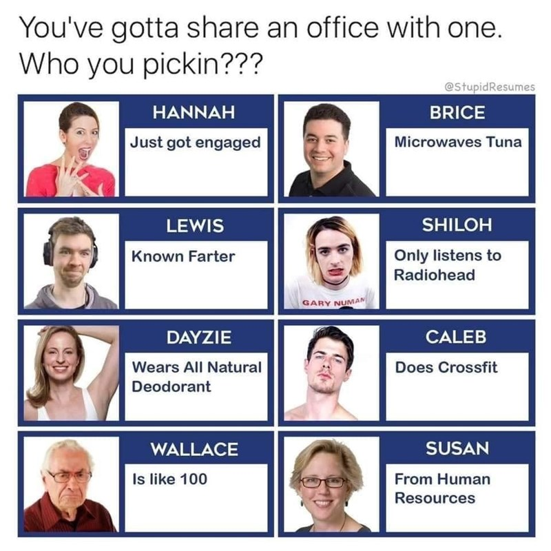 Face - You've gotta share an office with one. Who you pickin??? @StupidResumes HANNAH BRICE Just got engaged Microwaves Tuna LEWIS SHILOH Known Farter Only listens to Radiohead GARY NUMAN DAYZIE CALEB Wears All Natural Does Crossfit Deodorant WALLACE SUSAN Is like 100 From Human Resources