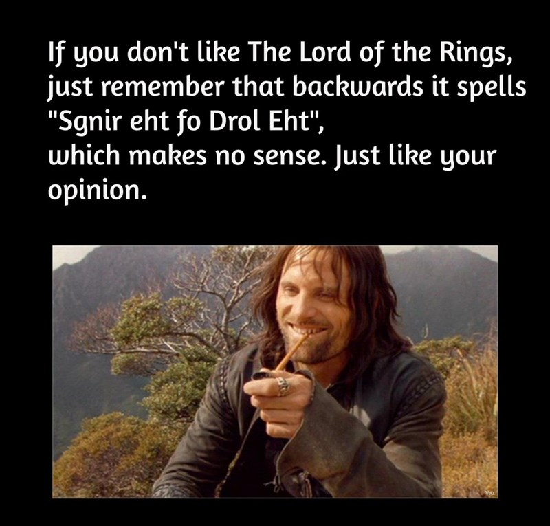 """Product - If you don't like The Lord of the Rings, just remember that backwards it spells """"Sgnir eht fo Drol Eht"""", which makes no sense. Just like your opinion."""