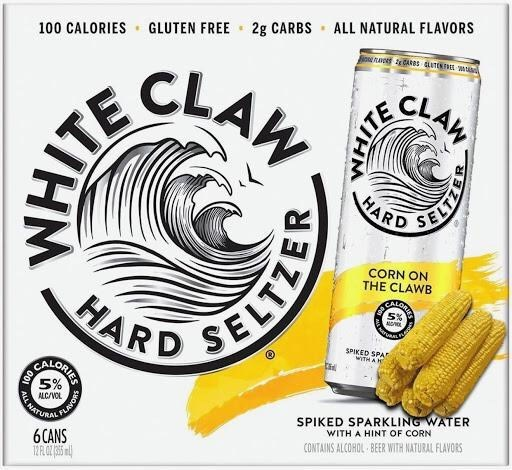 Food - net CARS GLUTEN EL M 100 CALORIES · GLUTEN FREE - 2g CARBS ALL NATURAL FLAVORS CLAW CLAW HARD CORN ON THE CLAWB CALO HARD SPIKED SPAT WTHAM SPIKED SPARKLING WATER WITH A HINT OF CORN ANATURAL ALC/VOL CONTAINS ALCOHOL BEER WITH NATURAL FLAVORS 6CANS ORIES SHGA WHITE ELTZER