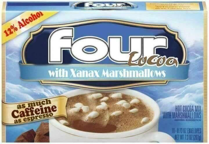 Food - 12% Alcohor FOur with Xanax Marshmallows as much Caffeine as espressSO HOT COCOA MIX WITH MARSHMALLOWS SERVIG SUGOESTION 10-073 0Z ENVELOPES MET WT 73 0Z (207g