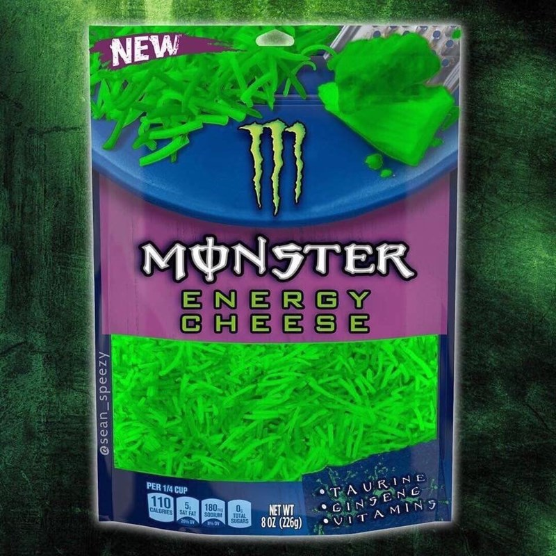 Green - NEW MONSTER ENERGY CHEES E TAURINE GINSENG •VITAMINS PER 1/4 CUP 110 5 180 CALORIES SAT FAT 0, TOTAL SUGARS NET WT 8 OZ (226g) SODIUM 20% OV @sean_speezy