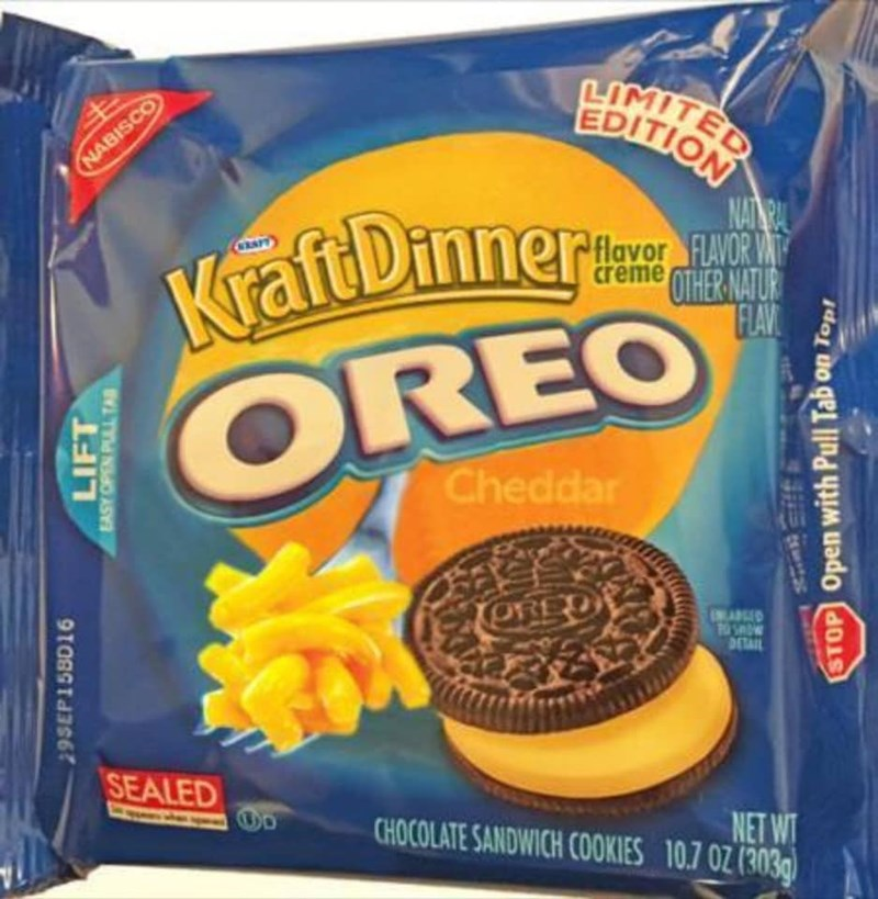 Food - LIMITED LIMITED EDITION NABISCO KraftDinner OREO NAINAL flavor FLAVOR VAT creme OTHER NATUR FLAV CRAPT Cheddar ORED 0134YN SEALED NET WT CHOCOLATE SANDWICH COOKIES 10.7 0Z (303g) 295EP15BD16 LIFT EASY OPEN PUALL TA\ STOP Open with Pull Tab on Topt