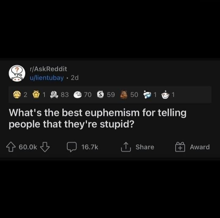 Font - r/AskReddit u/lientubay · 2d 2 1 2, 83 70 S 59 a 50 1 1 What's the best euphemism for telling people that they're stupid? 个60.0k 16.7k 1, Share +Award