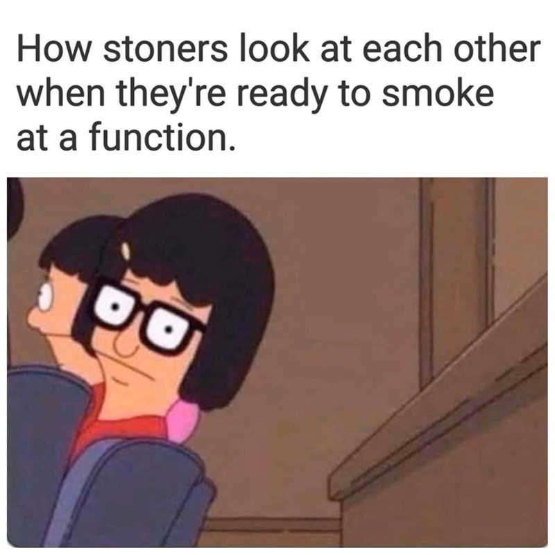 Cartoon - How stoners look at each other when they're ready to smoke at a function.