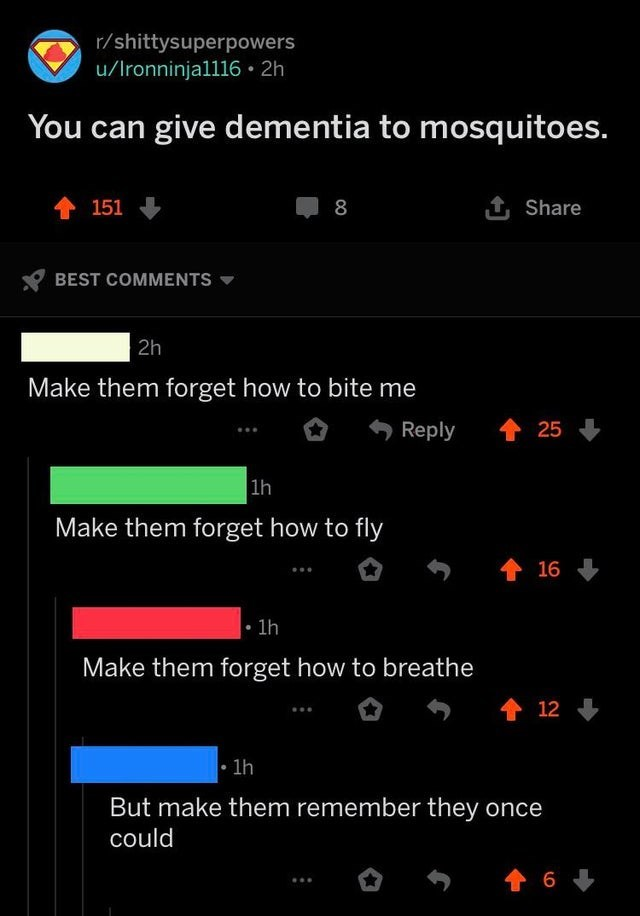 Font - r/shittysuperpowers u/Ironninjal116• 2h You can give dementia to mosquitoes. 151 8 1 Share BEST COMMENTS 2h Make them forget how to bite me Reply 25 1h Make them forget how to fly > 會16 • 1h Make them forget how to breathe 會 12 ↓ 1h But make them remember they once could 1 6