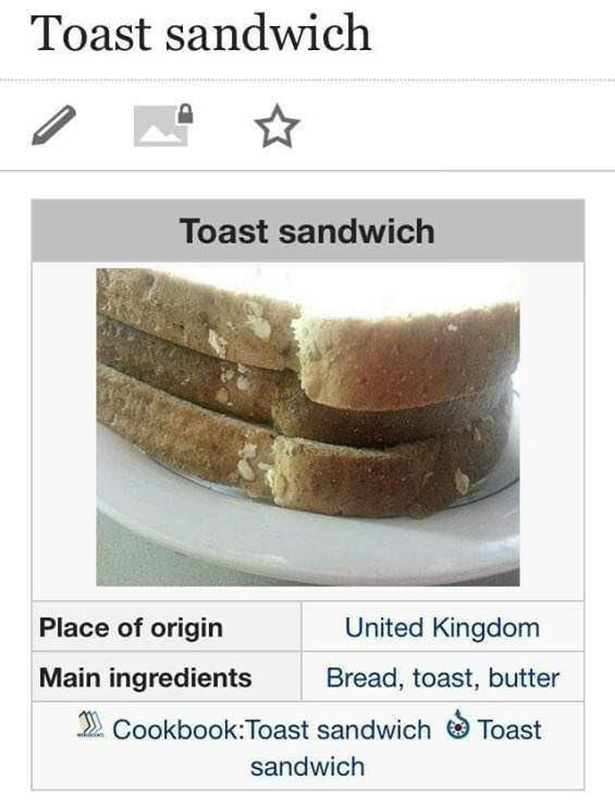 Rectangle - Toast sandwich Toast sandwich Place of origin United Kingdom Main ingredients Bread, toast, butter 2 Cookbook:Toast sandwich O Toast sandwich