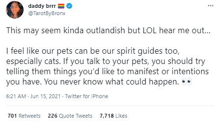 Font - daddy brrr @TarotByBronx This may seem kinda outlandish but LOL hear me out. I feel like our pets can be our spirit guides too, especially cats. If you talk to your pets, you should try telling them things you'd like to manifest or intentions you have. You never know what could happen. 00 6:21 AM Jun 15, 2021 - Twitter for iPhone 701 Retweets 226 Quote Tweets 7,718 Likes