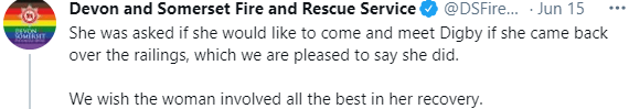 Font - Devon and Somerset Fire and Rescue Service @DSFire. · Jun 15 ... She was asked if she would like to come and meet Digby if she came back over the railings, which we are pleased to say she did. We wish the woman involved all the best in her recovery.