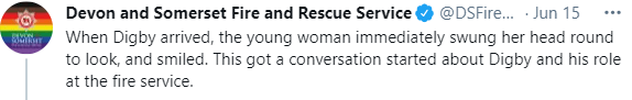 Font - Devon and Somerset Fire and Rescue Service @DSFire. Jun 15 ** When Digby arrived, the young woman immediately swung her head round to look, and smiled. This got a conversation started about Digby and his role at the fire service.