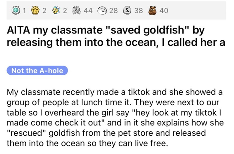 """Font - 1 O 2 2 44 28 3 38 40 AITA my classmate """"saved goldfish"""" by releasing them into the ocean, I called her a Not the A-hole My classmate recently made a tiktok and she showed a group of people at lunch time it. They were next to our table so I overheard the girl say """"hey look at my tiktok I made come check it out"""" and in it she explains how she """"rescued"""" goldfish from the pet store and released them into the ocean so they can live free."""